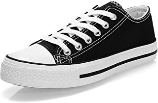 KUNSHOP Unisex Canvas Fashion Lace up Sneakers Casual Low Tops Shoes for Women Men Black Size: 7.5
