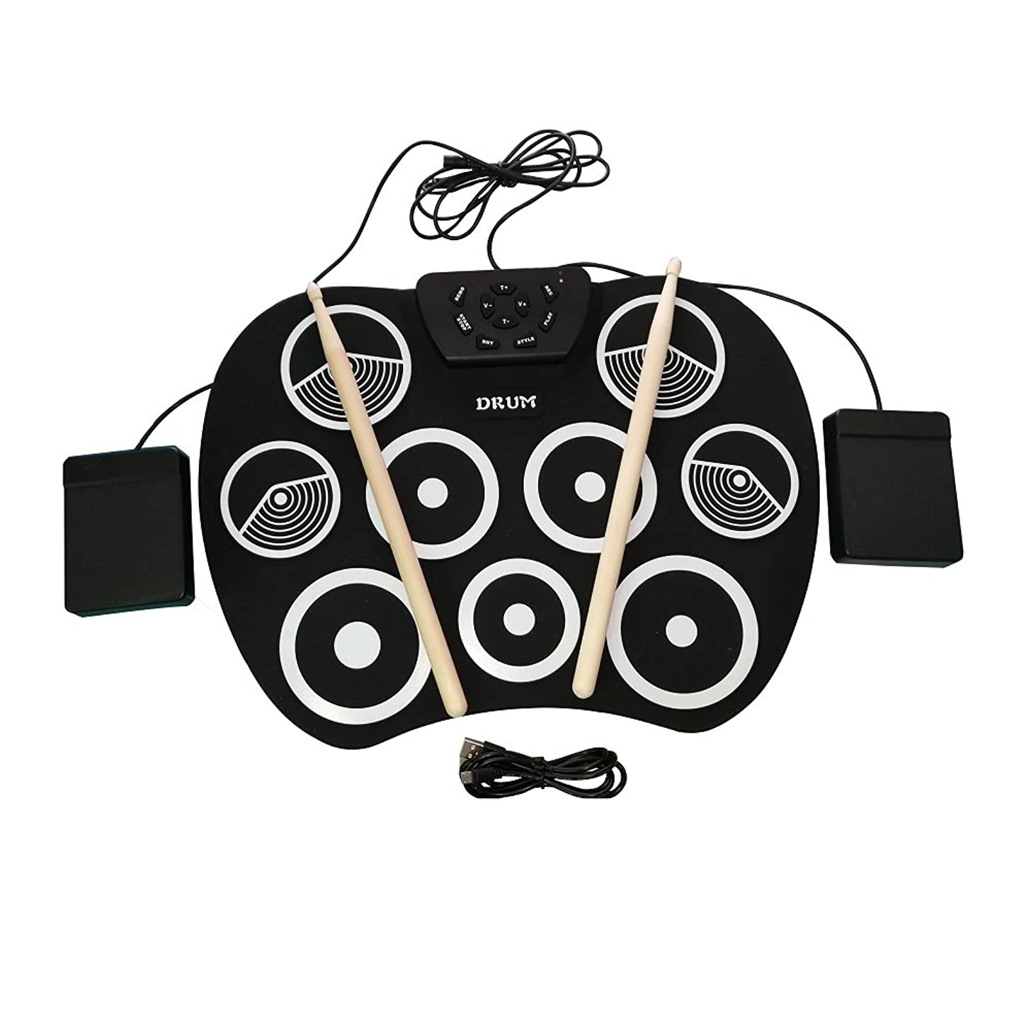 Portable Electronic Roll Up Drum Set, Youqian USB Digital 9 Pad Foldable Practise Electronic Drum Set Musical Instrument for Kids Beginners Children (Headphone/Speaker Required for Use)