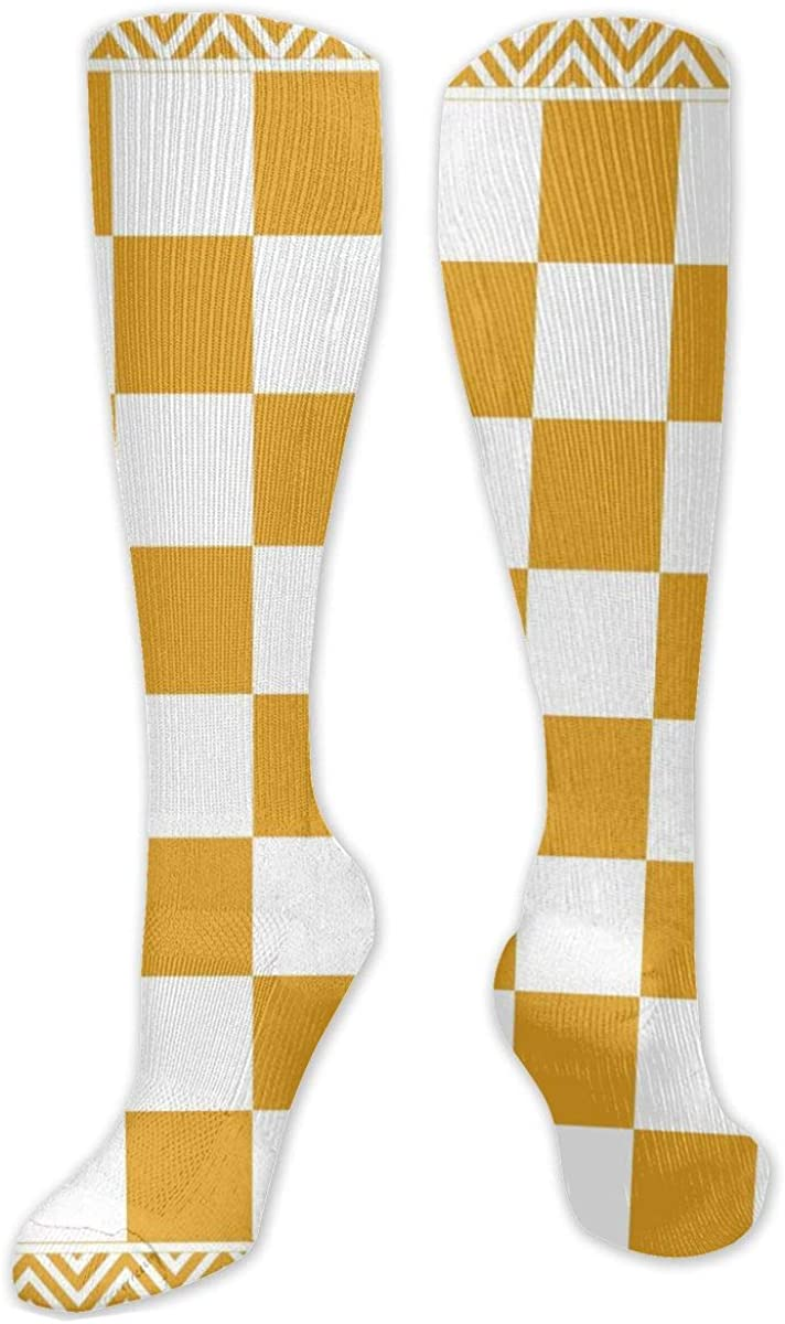 Yellow White Square Pattern Knee High Socks Leg Warmer Dresses Long Boot Stockings For Womens Cosplay Daily Wear