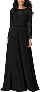 Aox Women's Vintage Long Sleeve Floral Chiffon High Waist Party Evening Dress Formal Prom Skirt