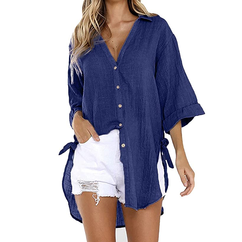 COPPEN Women Blouse Loose Button Plus Size Long Shirt Dress Cotton Tops Summer T-Shirt 2019