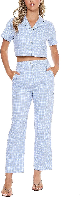 Elodie Apparel Women's Casual Windowpane Checkered Ankle Pants Elastic Waist