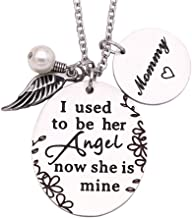 Memorial Mom Necklace I Used To Be Her Angel Now She's Mine Necklace Mommy, In Memory Of Loved One Mom