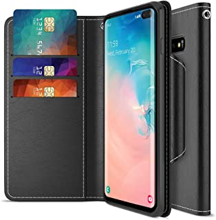 Maxboost Galaxy S10 Plus Case mWallet Series Designed for Samsung Galaxy S10 Plus [Stand Feature] [PowerShare Friendly] Galaxy S10+ Case Card Wallet (Black) w/Card Slot Side Pocket Magnetic Closure