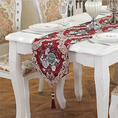 LXZ Chemins De Table, Vintage Chemin De Table À Toile Flanelle Lin Jacquard De Jute Et Burlap De Table Décoration Pour Maison Mariage , Red , 32X250Cm