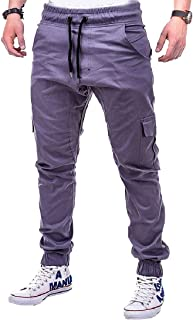 MogogoMen Sports Drawstring Solid Pockets Relaxed-Fit Tracksuit Bottoms