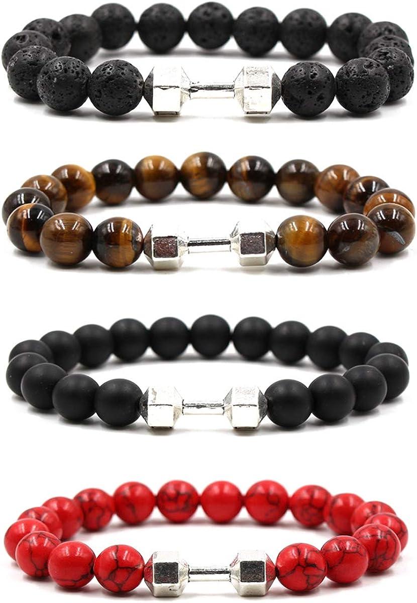 VANGOT 4Pcs Dumbbell Beaded Bracelets for Men Women Lava Stone B