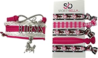 Sportybella Girls Horse Charm Bracelet and Hair Tie Set, Horse Lovers Equestrian Jewelry for Women and Girls