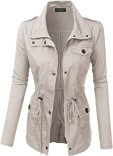 LE3NO Womens Lightweight Stand Collar Drawstring Waist Safari Military Anorak Jacket with Pockets