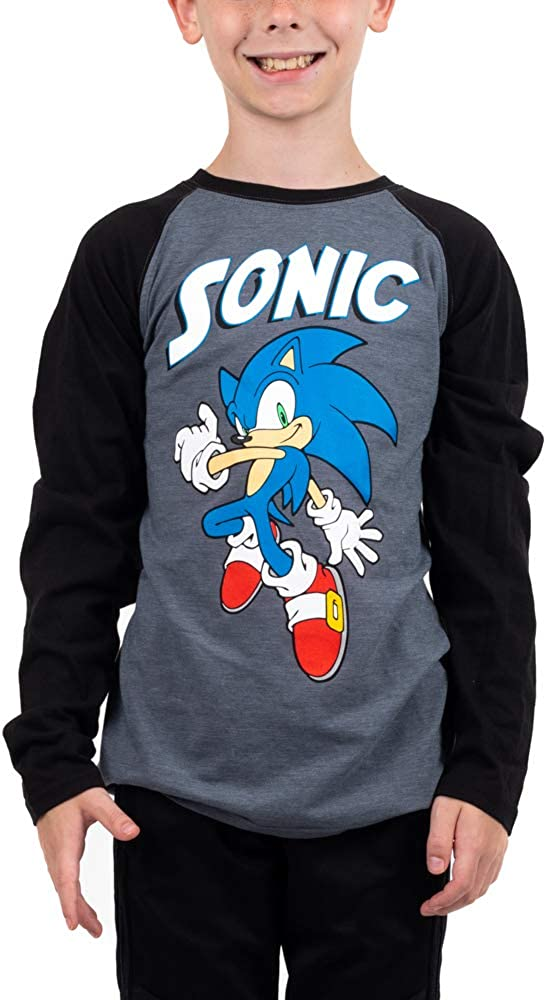 Youth Boys Sonic SALENEW very popular Video Game Tee Long Graphic Sleeve 100% quality warranty!