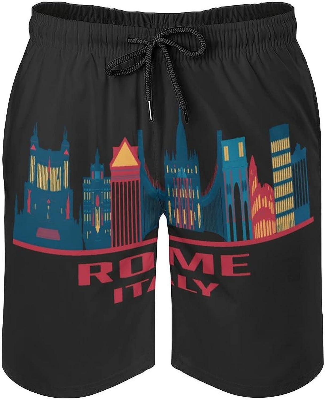 B&MAVIS Italy Rome Men's Summer Quick Dry Swim Trunks Casual Board Shorts Beachwear for Boys Men
