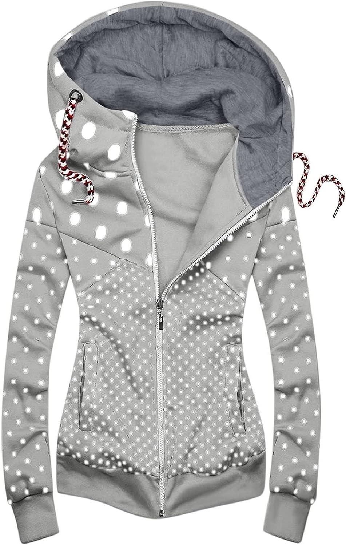 Pockets Jackets Popular brand for Women Dealing full price reduction Stitching Sweat Style Dot Print Zipper