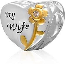 925 Sterling Silver Heart Charm Wife Charm Flower Charm Rose Charm Anniversary Charm Valentine Charm for Pandora Charms Bracelet