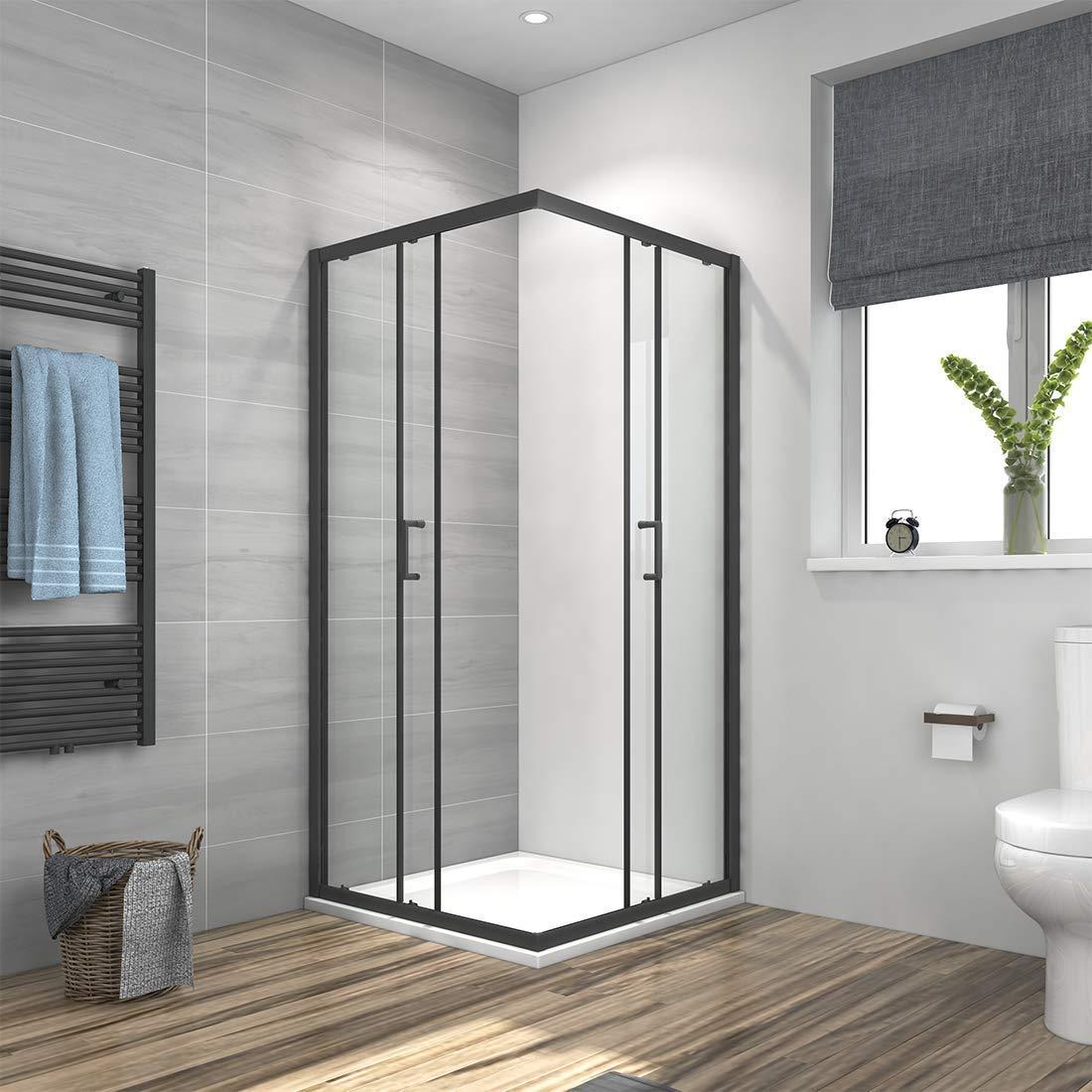 Meykoe Cabina de ducha esquinera con puerta corredera con marco negro, mampara de ducha, esquina, entrada de cristal, altura 190 cm: Amazon.es: Bricolaje y herramientas