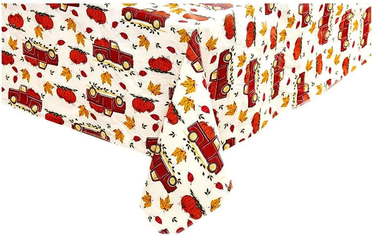 Autumn Essence Harvest Red Truck Hauling Pumpkins Vinyl Tablecloth 52 X 70