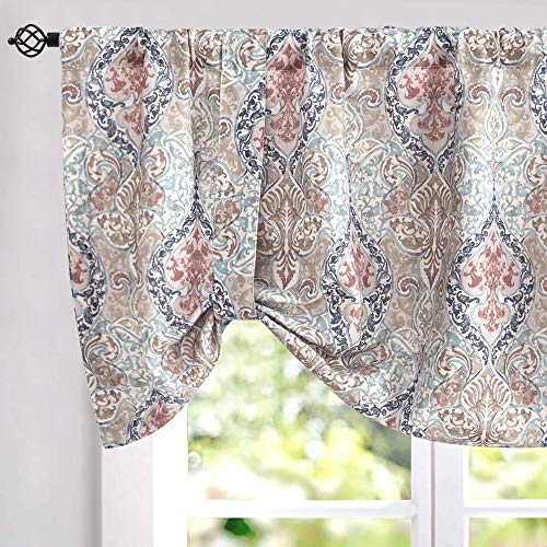 jinchan Damask Printed Tie-up Valances for Windows Multicolor Linen Textured Adjustable Tie Up Shade Window Curtain Rod Pocket Medallion Tie-up Valance Curtains 18 Inches Long (1 Panel, Green)