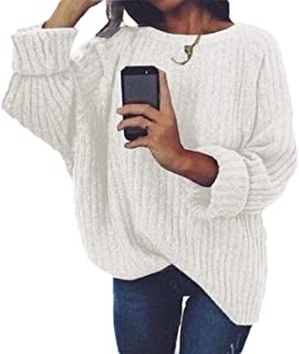 Womens Round Neck Long Sleeve Pullover Warm Loose Chunky Knitted Jumper Sweater