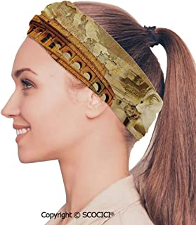 SCOCICI Stretch Soft and Comfortable W9.4xL18.9in Headscarf Headbands Medieval Ancient Castle Window with Crystal Ball Clouds Parchment Decorative,Teal Grey White and Purple Perfect for Running, Wor