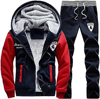 Men's Winter Fleece Tracksuit Full Zip Gym Outfits Casual Sports Suit Set