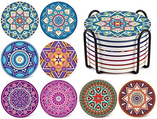 LIFVER Posavasos vasos de porcelana, Posavasos de cerámica estilo Boh