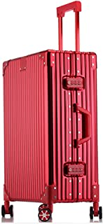 Metal Suitcase Business Trip Men's Travel Suitcase Female Boarding case Trolley case red