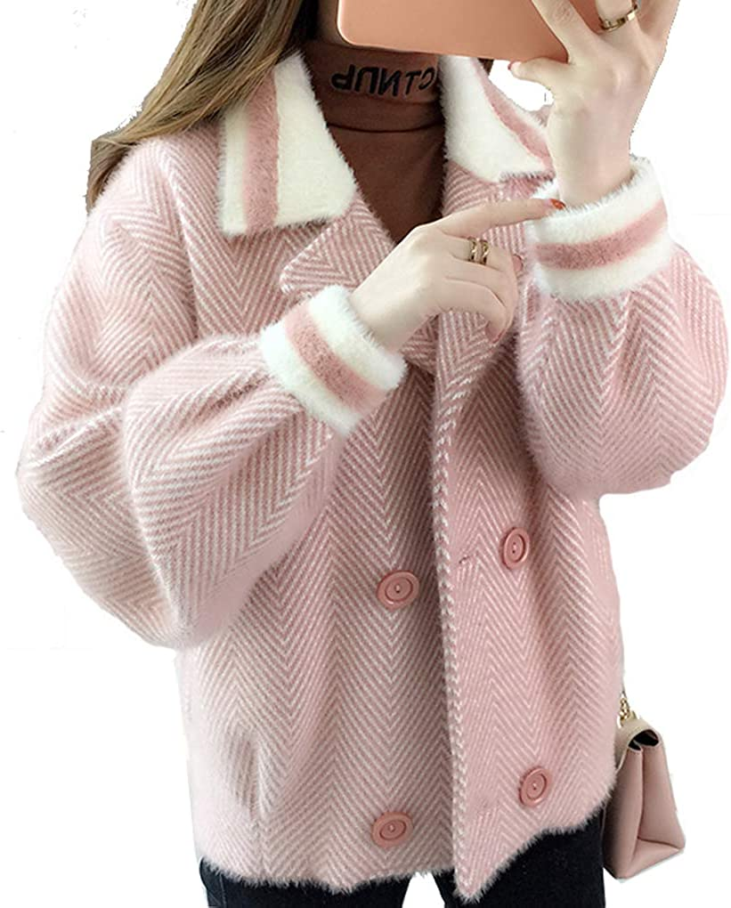 Qinni-shop Women Short Thickened Double Breasted Knit Cardigan Sweater Outwear with Long Sleeve Pink Black Navy Khaki
