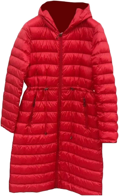 Mfasica Women Warm Waist Tie Hood Ultra Light Weight MidLong Down Coat
