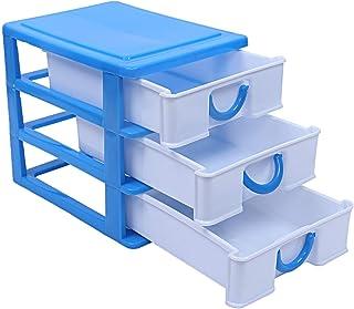 Kuber Industries Plastic Three Layer Drawer Storage Cabinet Box (Blue)-CTKTC025074