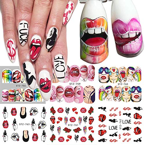 6pcs Nail Stickers Sexy Lips Cool Girl Water Decals Wraps Cartoon Sliders for Nail Decoration Manicure Colorful Tip