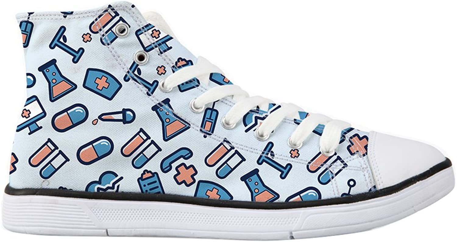 Mumeson Cute Cartoon Medicine Printing Women's Canvas shoes High Top Sneakers
