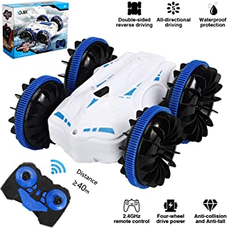 YDJIA Amphibious Remote Control Car for Kids 4WD Waterproof RC Stunt Car with Double Sides Off Road Vehicle 2.4 GHz Truck 360�Spins & Flips in Water & on Land RC Boat Toy for Boys (White)