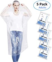 Emergency Rain Ponchos for Adults, Disposable Drawstring Hood Poncho for Outdoors, Theme Parks, Hiking, Camping, School Sporting Corporate Events Group Activity - 5 Pack, Clear