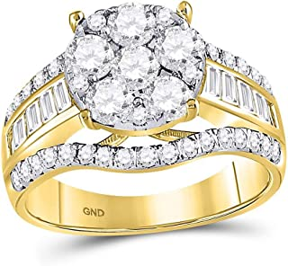 14kt Yellow Gold Womens Round Diamond Cluster Bridal Wedding Engagement Ring 1-7/8 Cttw Multiple Ring Sizes Available