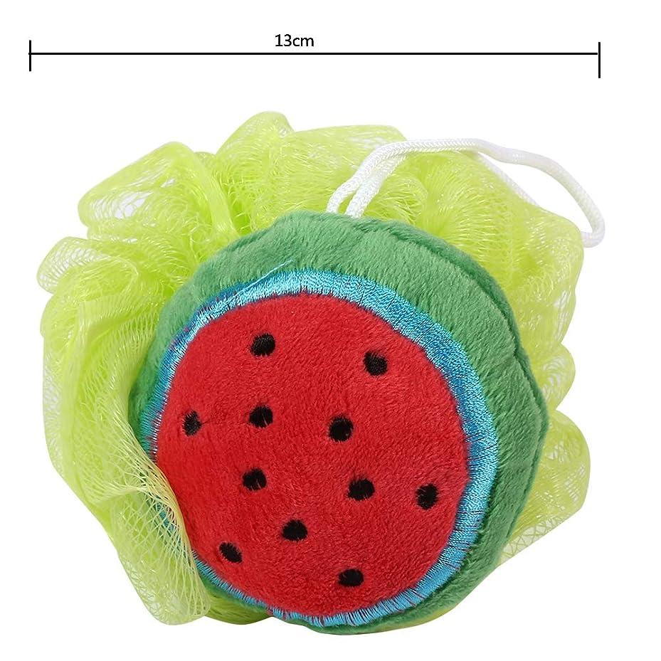 記念品マントマウント泡立てネット ボール お風呂 ボディ洗い 柔らかい ボディウォッシュボール 可愛い果物形 子供 大人にも対応(スイカ)