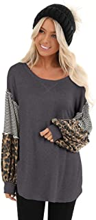 Eoeth Women Leopard Print Blouse Casual Long Sleeve Splicing Striped Tops Patchwork Pullovers Simple Pleated T-Shirt