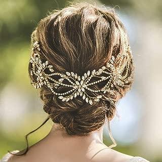 Yean Bridal Hair Vine Rhinestone Crystal Hair Piece Gold Wedding Hair Accessories for Women and Girls