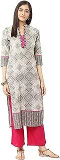 Jaipur Kurti Grey & Rani Pink Embroidered Kurta with Palazzo Trousers