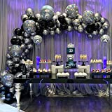 GIHOO Black and Silver Balloon Garland Arch Kit, 139pcs 4D Disco Foil Balloons Silver Metallic Balloons with 16Ft Strip for Bouquet Wedding Baby Shower Birthday Disco Dance Party Decorations