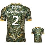 Afrique du Sud 100e Anniversaire Rugby Maillot Survêtements Football T-Shirt D'entraînement Respirant Personnalisé Nom et Numéros,Customise,3XL(190-195CM)