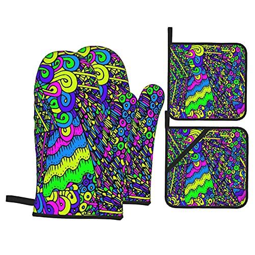 Colorido brillante 60 colores hippie diseño creativo loco resistente al calor, guantes antideslizantes a prueba de horno y soportes para ollas para el hogar, cocina, horno y microondas