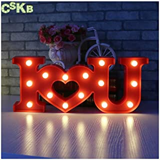 CSKB LED Marquee Letter Lights 26 Alphabet Light up Marquee Letters Sign for Wedding Birthday Party Battery Powered Christmas Night Light Lamp Home Bar Decoration (I Love U Red)