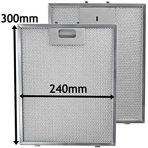SPARES2GO Metalen gaasfilter voor Samsung afzuigkap/keukenafzuigkap Ventilatieopener (Pak van 2 Filters, Zilver, 300 x 240 mm)
