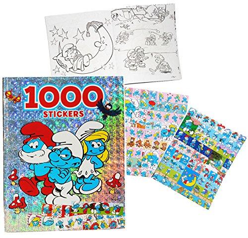 alles-meine.de GmbH XXL Malbuch mit 1000 Sticker + 128 Seiten -  die Schlümpfe  - Aufkleber - Malbücher Stickern / Malvorlagen zum Ausmalen Malspaß - für Jungen & Mädchen Stick..