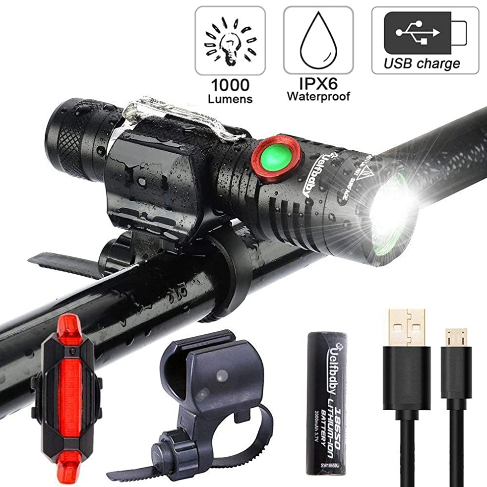 Uelfbaby Bike Light 1000 Lumen USB Rechargeable Stepless dimming Free Taillight Included Mount Cycle Torch Easy Install & Quick Release Fits All Bikes Mountain Hybrid Road MTB