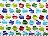 ab 1m: Baumwoll-Jersey, Äpfel, weiß-multicolor, 155cm