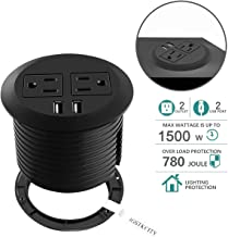 Desktop Power Grommet with USB,Hidden Power Socket. Desk Hole Grommet Outlet,Easy Access to 2 Power Source Along with 2 USB Power Port Connections