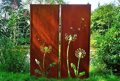 Gartenwand Sichtschutz Diptychon Pusteblume rost Stahl 150x195 cm