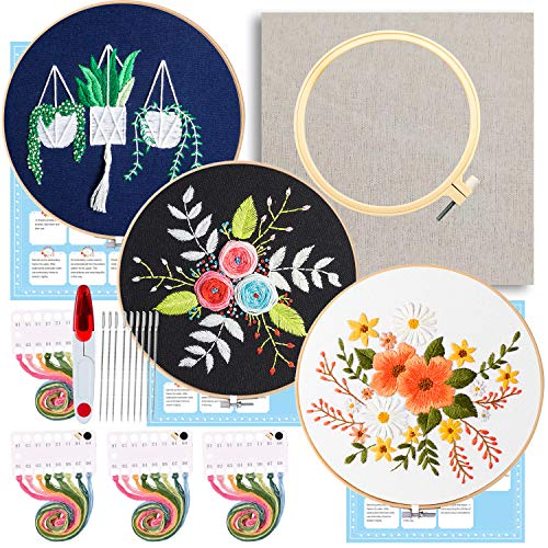 Full Range of Embroidery Starter Kit,5 Pieces Bamboo Embroidery Hoops,100 Color Embroidery Threads,Cross Stitch Tool Kit (Embroidery Starter Kit 2)