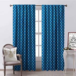 GUUVOR Polka Dots Shading Insulated Curtain Classical Polka Dots Pattern Modern Style Navy Boys Theme Retro Artistic Print Soundproof Shade W84 x G96 Inch Blue White