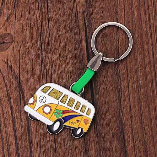HJCWL 1 stks Vicney Spanje Teken Van Bus Sleutelhanger Ijzeren legering Kleurrijke Vierkante Sleutelhanger Mode Sieraden Handtas Auto Reizen Sleutelhanger Van Zomer